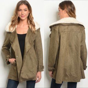 NWT HYFVE Olive Faux Suede Short Trench Coat